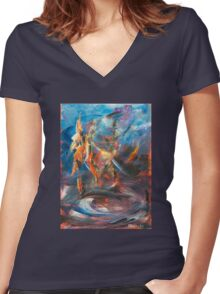 Dancer original abstract acrylic painting. Women's Fitted V-Neck T-Shirt