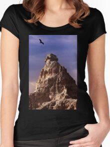 Sunrise over Badlands Window Trail .2 Women's Fitted Scoop T-Shirt
