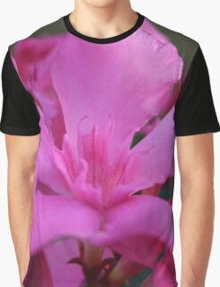 Pink Oleander Flower With Green Leaves in the Background  Graphic T-Shirt