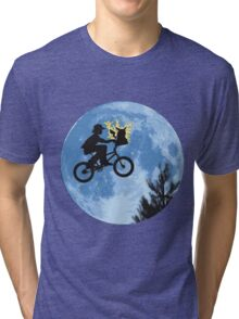 ET movie mashup with Pokemon Tri-blend T-Shirt