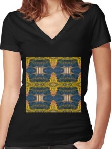 Repetitive Church Motive Women's Fitted V-Neck T-Shirt