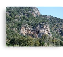 The Weathered Façades Of Lycian Tombs Canvas Print