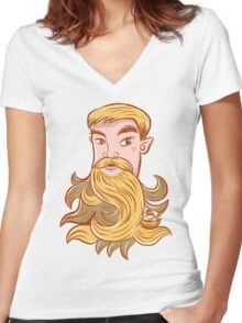 A mighty man beard nesting place Women's Fitted V-Neck T-Shirt