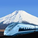 Intercity train with Mount Fuji background by Bruno Beach