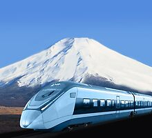 Intercity train with Mount Fuji background by Atanas NASKO