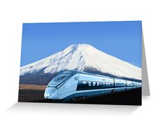 Intercity train with Mount Fuji background Greeting Card