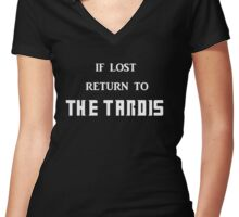 If Lost Return to The Tardis  Women's Fitted V-Neck T-Shirt