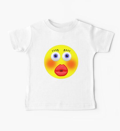 Smiley Embarrassed Kissing Girl Baby Tee