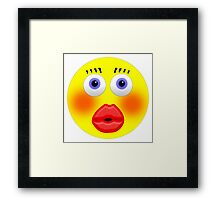 Smiley Embarrassed Kissing Girl Framed Print