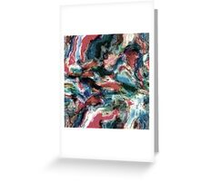 Teal Blue Coral Red Watercolor Swirls Art Pattern Greeting Card