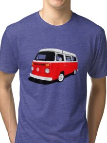 VW Camper Late Bay red and white Tri-blend T-Shirt