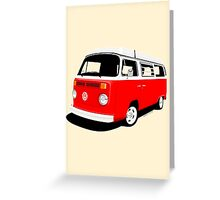 VW Camper Late Bay red and white Greeting Card