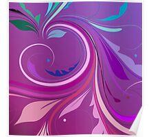 Purple Elegant Floral Swirl Poster