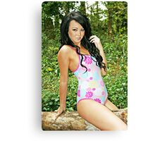 Pretty Flowers Swimsuit Girl Canvas Print