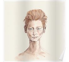 Tilda Red Head Face Portrait Drawing Poster