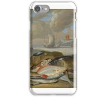 Jan van Kessel the Elder, STILL LIFE OF FISH IN A HARBOR LANDSCAPE, POSSIBLY AN ALLEGORY OF THE ELEMENT OF WATER iPhone Case/Skin