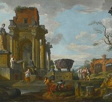 Giovanni Paolo Panini A CAPRICCIO OF CLASSICAL RUINS WITH FIGURES by Adam Asar
