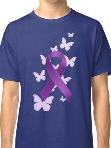Purple Awareness Ribbon with Butterflies Classic T-Shirt