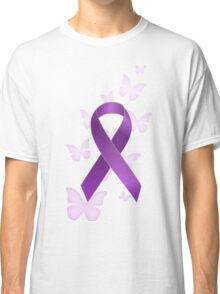 Purple Awareness Ribbon with Butterflies Classic T-Shirt