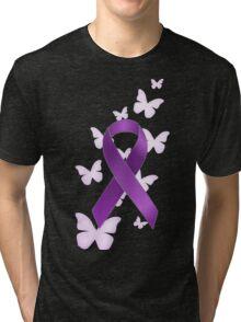 Purple Awareness Ribbon with Butterflies Tri-blend T-Shirt