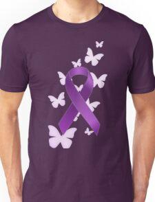 Purple Awareness Ribbon with Butterflies Unisex T-Shirt