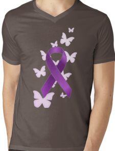 Purple Awareness Ribbon with Butterflies Mens V-Neck T-Shirt