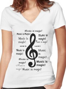 Music is magic all over Women's Fitted V-Neck T-Shirt