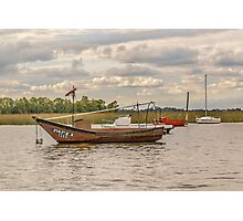 Fishing and Sailboats at Santa Lucia River in Montevideo, Uruguay Photographic Print
