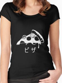 Creepy cute pizza Women's Fitted Scoop T-Shirt