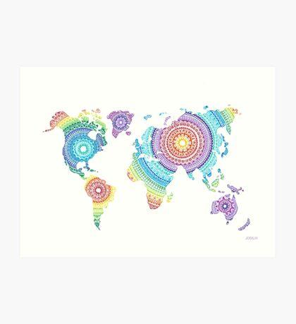 World Map Mandala Art Print