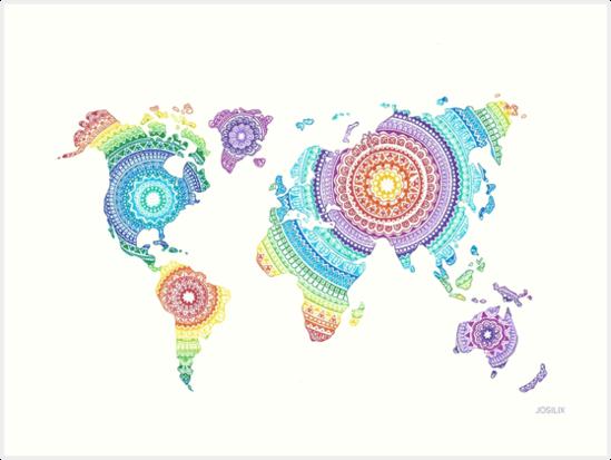 Quot world map mandala quot art prints by josilix redbubble