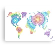 World Map Mandala Metal Print