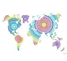 World Map Mandala Photographic Print