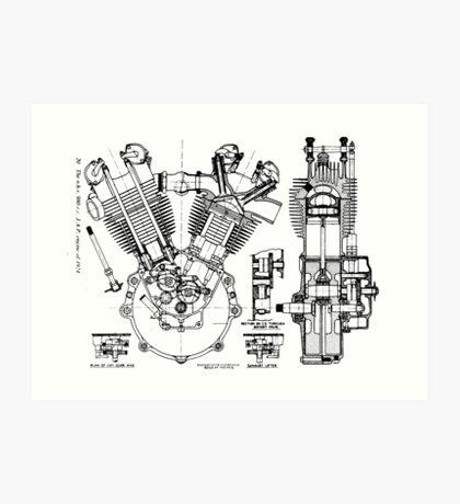 JAP V-Twin Engine  Art Print