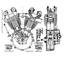 JAP V-Twin Engine  Photographic Print