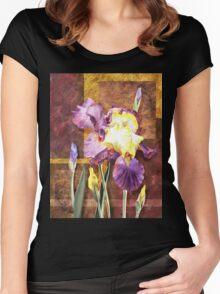 Iris Flower Decorative Artwork Women's Fitted Scoop T-Shirt