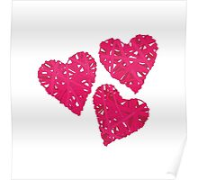 Pink wicker hearts vector design elements Poster