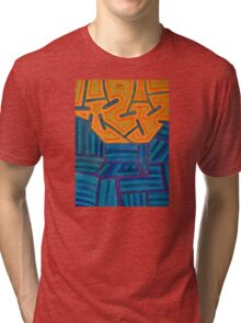 Blue Striped Segments combined with Orange Area Tri-blend T-Shirt