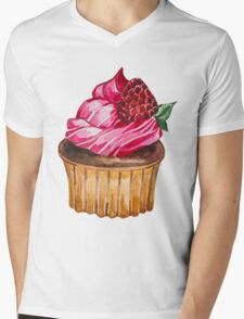 Watercolor Cupcake Mens V-Neck T-Shirt