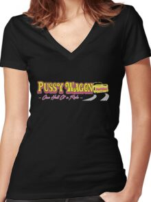 Pussy Wagon Logo Variant Women's Fitted V-Neck T-Shirt