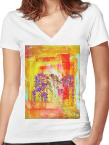 Remixed Tree 1 Women's Fitted V-Neck T-Shirt