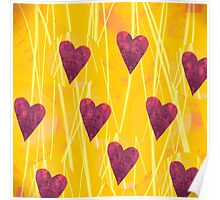 Hearts On Yellow Poster