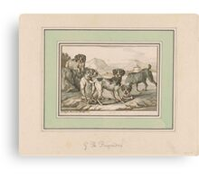 Georg Philipp Rugendas Four Dogs, Two of them Roped Together Canvas Print