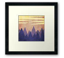 minimalist mountain on sunset background Framed Print