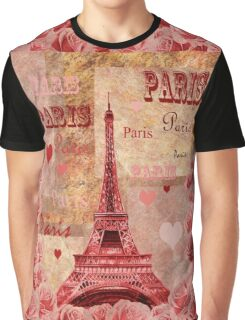 Vintage Eiffel Tower Hearts And Roses Graphic T-Shirt