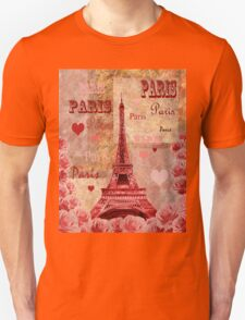 Vintage Eiffel Tower Hearts And Roses T-Shirt