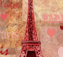 Vintage Eiffel Tower Hearts And Roses Sticker