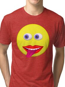 Smiley With Tongue Out Tri-blend T-Shirt