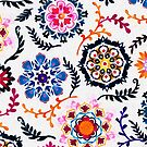 Happy Color Suzani Inspired Pattern by micklyn