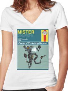 Mister Handy Haynes Manual Women's Fitted V-Neck T-Shirt